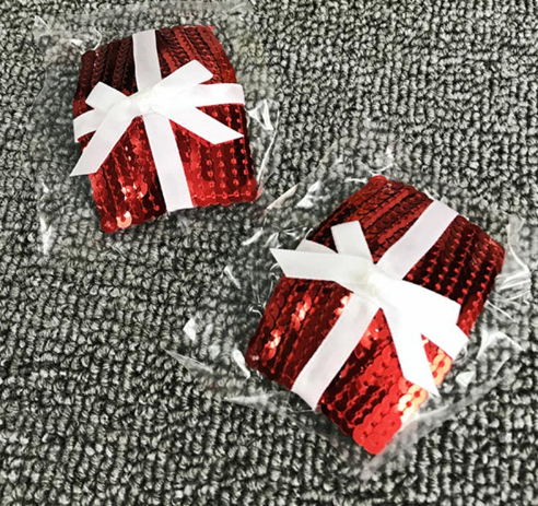 Christmas Nipple Pasties - Sequin Presents with White Bow