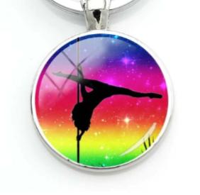 PSP - Rainbow Sunset - Pole Dancer Heart Key Ring