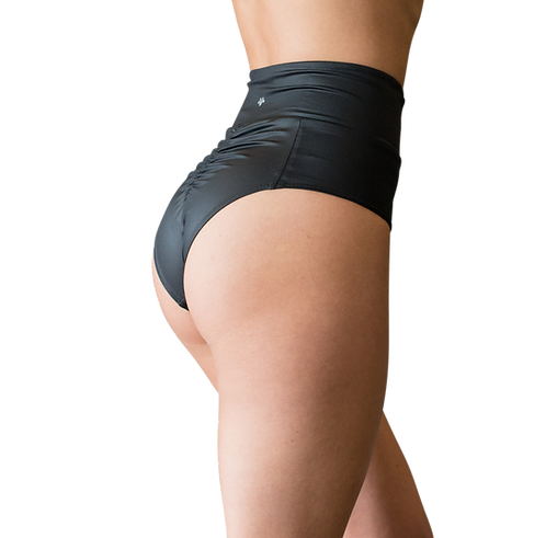 VEKKER - Redesigned High Waisted Black Shorts - Wetlook Fabric