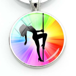 PSP - Rainbow Burst - Pole Dancer Heart Key Ring