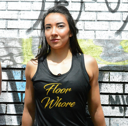 PSP - Black Racerback Vest - Gold - Floor Whore
