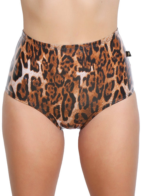 Cleo The Hurricane Wet Leppard High Waisted Hot Pants Small Front View
