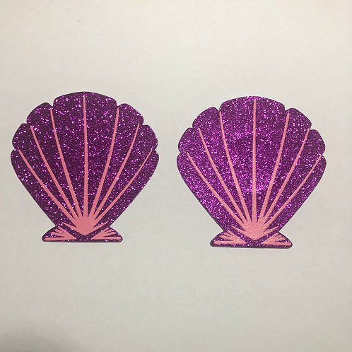 Purple Glitter Mermaid Shell Nipple Pasties - 1 x Pair