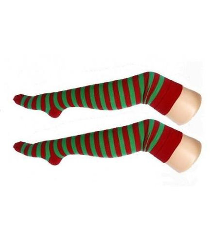 Stripy Knitted Over The Knee Socks - Red & Green