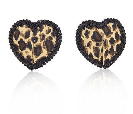 Leopard Print Heart Nipple Pasties - 1 x Pair