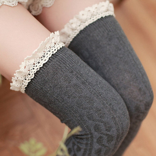 Charcoal Grey Over Knee Socks with Cotton Lace Frill Top