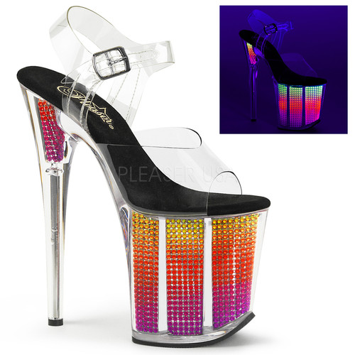 52f3dc898cfc75 Pleaser Shoes - Flamingo 808-SRS CLEAR  UV RHINESTONE FILLED