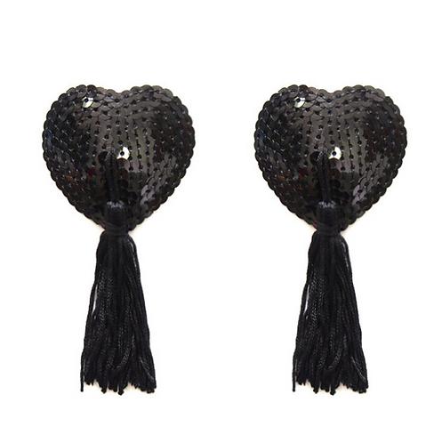 Black Sequin Heart Nipple Tassel Pasties - 1 x Pair