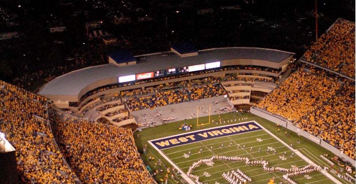 WVU stadium seating with band