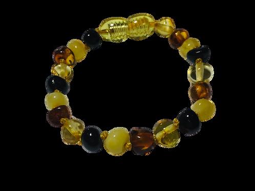Bracelet Ambre multicolor avec vis de sécurité pour bébé