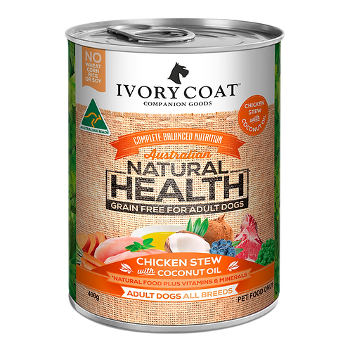 Ivory Coat Chicken Stew with Coconut Oil Adult Dog 400g Can