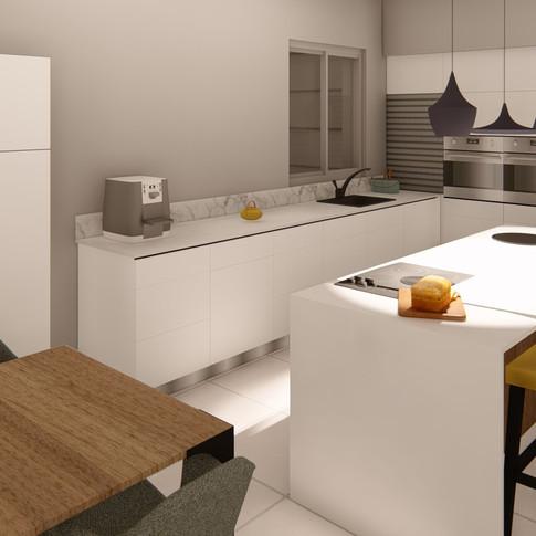 הדמיית חלל ציבורי- מטבח פינת אוכל וחדר מגורים