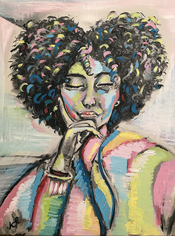 נערה ולב-הדפס עם נגיעות צבע