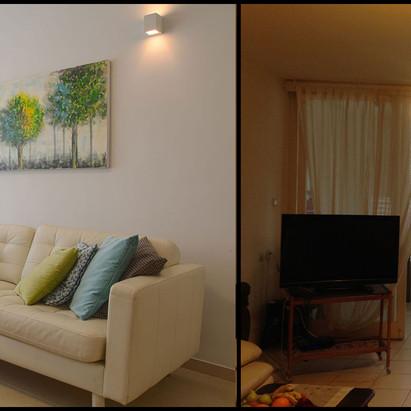 חדר מגורים לפני ואחרי