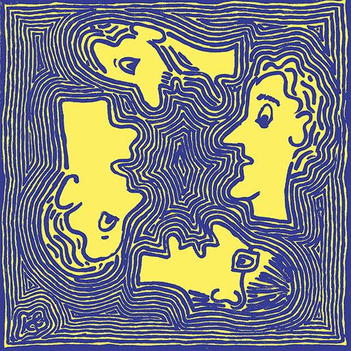 אנשים בעולם - כחול על צהוב
