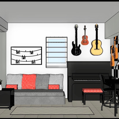 הדמיה - חזית קיר הפסנתר והמיטה