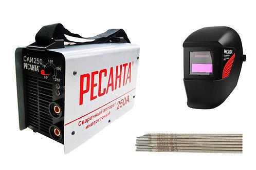Сварочный аппарат инверторный Ресанта САИ-250+Маска РЕСАНТА МС-4+Электроды
