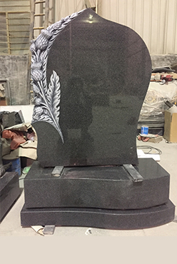 Carved Scottish Thistle headstone