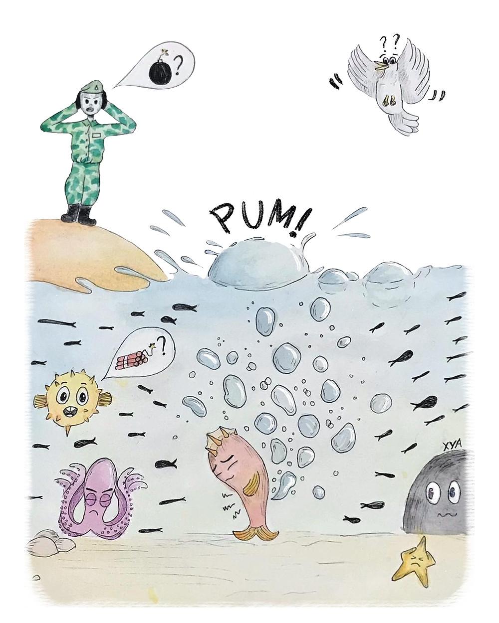 Ilustração de um peixe soltando pum no fundo do mar e o som do mesmo sendo confundido com uma bomba por um soldado sueco que está em uma ilha e por um baiacu dentro do mar. Ainda na cena, uma lula, uma estrela do mar e uma ave se confundem com o som.
