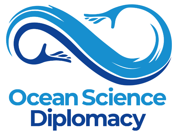 símbolo em tons de azul da Ocean Science Diplomacy