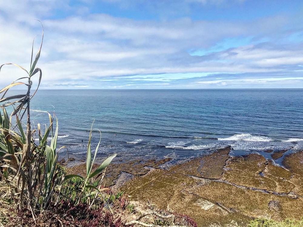 Foto de uma paisagem de praia tirada de cima de um morro com algumas gramíneas à esquerda. Praia com algumas ondas e recifes de pedras.
