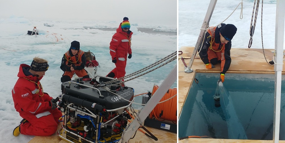 Two photographs of a scientific expedition on the Arctic ice. On the left, there are three researchers handling a Remotely Operated Vehicle. They are wearing red jumpsuits and in the background there is a white landscape of sea ice. On the right, one of the researchers lowers a zooplankton net into the water, kneeling on a structure built for deploying the ROV.