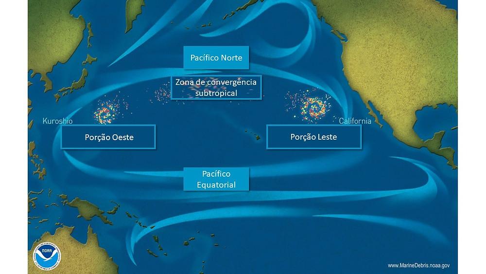 A imagem mostra a localização da Grande Porção de Lixo do Pacífico.