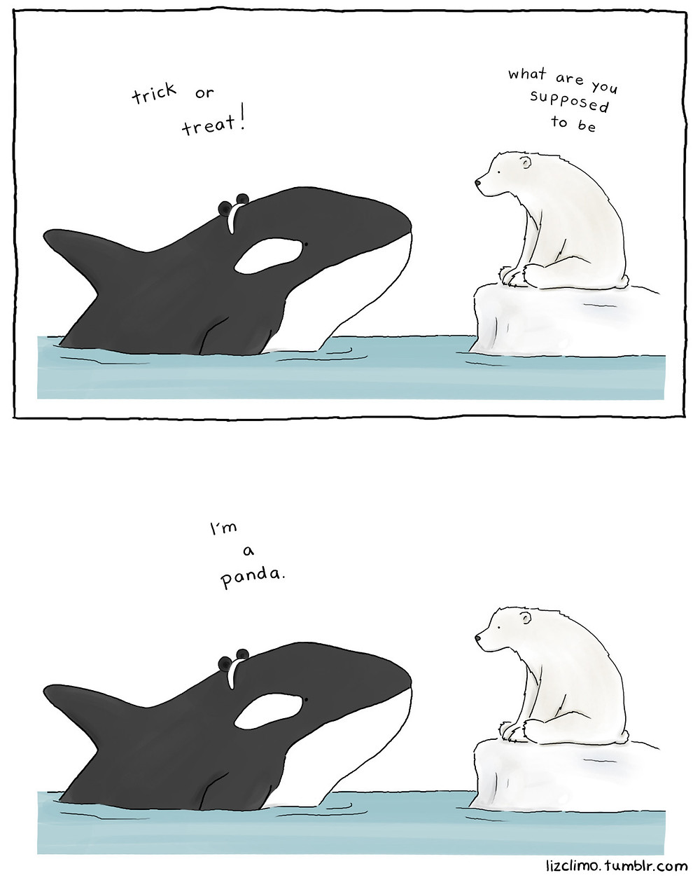 """Comic strip with two frames. In the first frame, an orca is wearing a tiara with round black ears and has its head out of the water. It says """"Trick or treat!"""" to a polar bear sitting on a block of ice, looking at it. The polar bear responds """"What are you supposed to be?"""". In the second frame, the orca answers """"I'm a panda""""."""