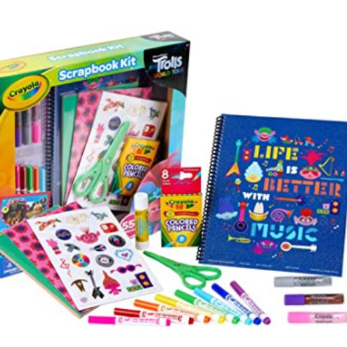 Crayola Trolls World Tour, Scrapbook Kit, Over 60 Art Supplies,