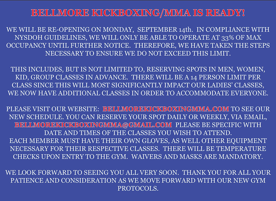 Bellmore Kickboxing Reopening Notice Hom