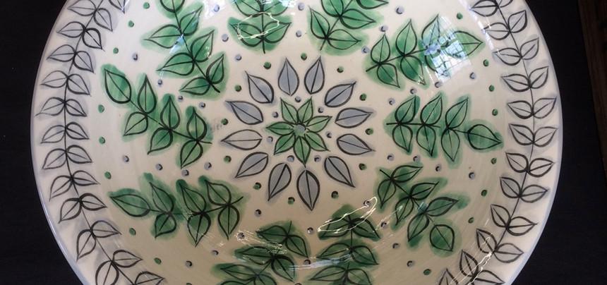 new leaf shallow fruit bowl