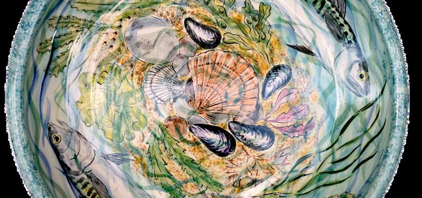 Mackerel shallow bowl