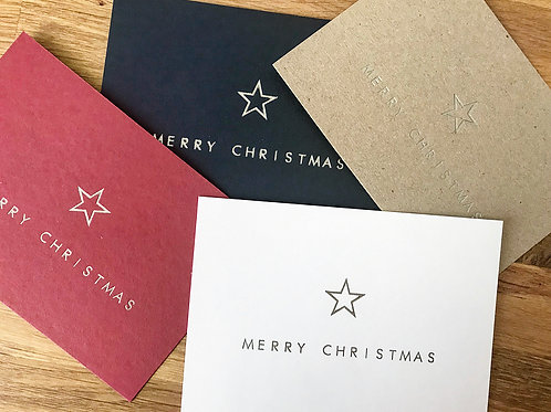 Christmas Star Greetings Cards (Pack of 4)