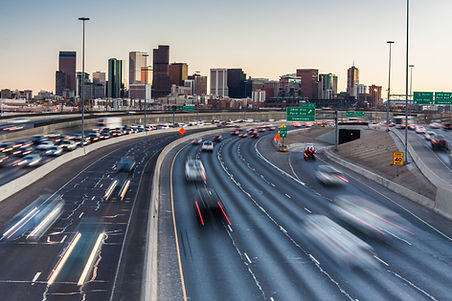 Rush hour traffic on I-25 looking towar