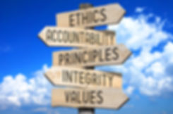 Wooden signpost - code of ethics concept