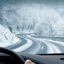 Winter Driving - Curvy Snowy Country Roa