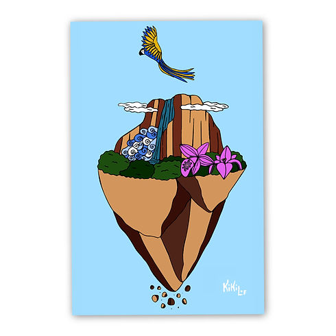 Floating Angel Falls, Salto Angel Flotante by KikiLoe, artprints for sale, buy illustrations online, Kirsten Loewenthal, Venezuela