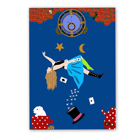 Down to the rabbit hole by KikiLoe, Alice in Wonderland artprint for sale, buy artprints online, Kirsten Loewenthal