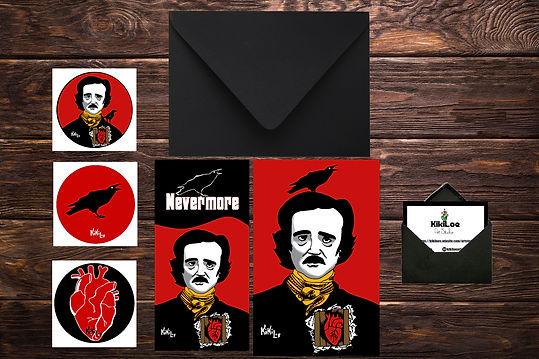 Edgar Allan Poe stationery set, by KikiLoe, Kirsten Loewenthal, the crow, nevermore