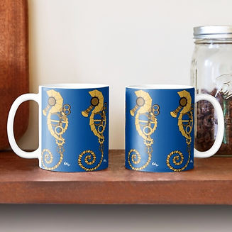Steampunk seahorse by KikiLoe, mug, home decor, art, illustration, shoponline