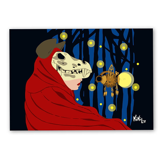 The Firefly Forest by KikiLoe, little red riding hood artprint for sale, buy artprints online, Kirsten Loewenthal
