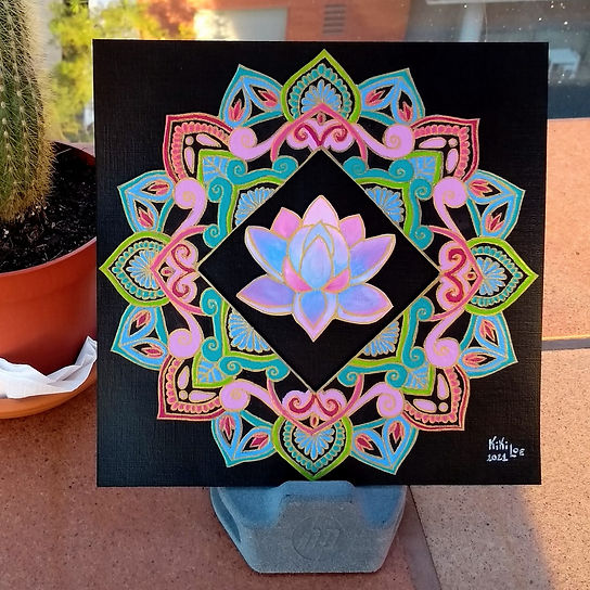 Lotus Mandala painting by KikiLoe Kirsten Loewenthal, paintings for sale