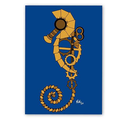 Steampunk Seahorse by KikiLoe, steampunk artprints for sale, buy artprints online, Kirsten Loewenthal