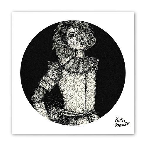 """""""Joan of Arc"""" by KikiLoe, art print for sale, but art online, inktober 2020"""