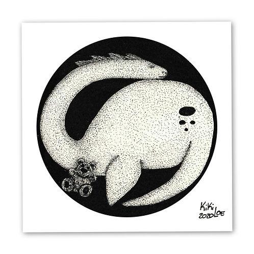 """Loch Ness Monster"" ""Sleeping Nessie"" by KikiLoe, inktober, art print for sale, buy art online"
