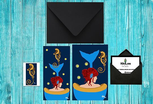 The little mermaid stationery set, by KikiLoe, mermaid in the tub, Kirsten Loewenthal