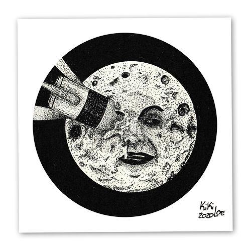 """A trip to the moon"" by KikiLoe,George Melies tribute, inktober, art print for sale, buy art online"
