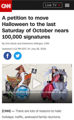 A petition to move Halloween to the last Saturday of October nears 100,000 signatures