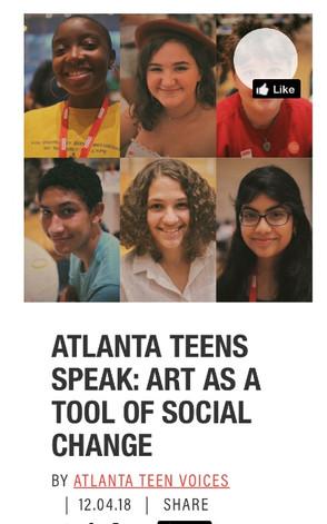 ATLANTA TEENS SPEAK: ART AS A TOOL OF SOCIAL CHANGE