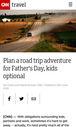 Plan a road trip adventure for Father's Day, kids optional